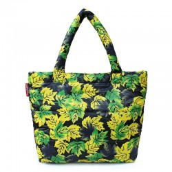 Зеленая дутая сумка Poolparty leaves с принтом ЛИСТЬЯ