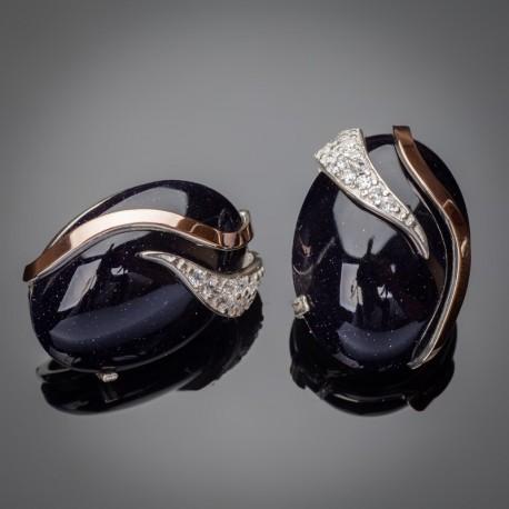 Кармен - серебряные серьги с кабошоном