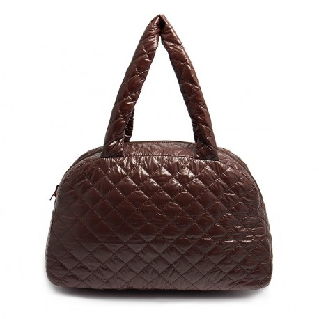 Лаковая стеганая сумка Poolparty CASUAL (коричневая)