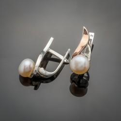Серьги Росинка из сереба и золота с жемчугом