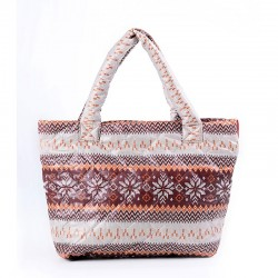 Дутая сумка с з узором Снежинка Poolparty (коричневая)