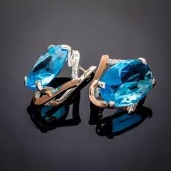 Серебряные серьги Лилия с голубым камнем