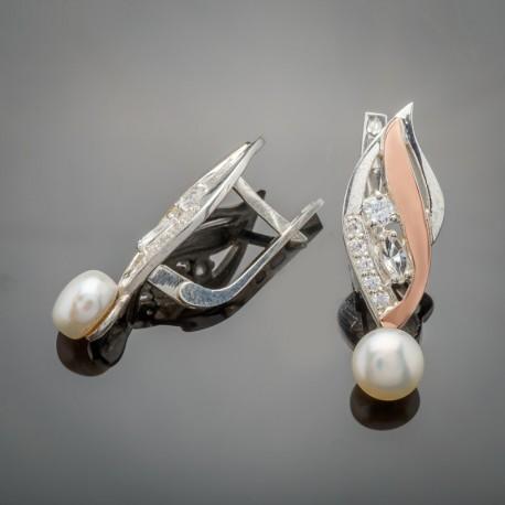 Серьги Лора из сереба и золота с жемчугом
