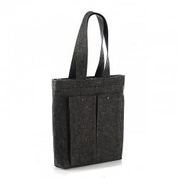 Прямая войлочная сумка черного цвета с карманами, на кнопке