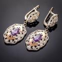 Длинные серебряные серьги Роксолана с камнем