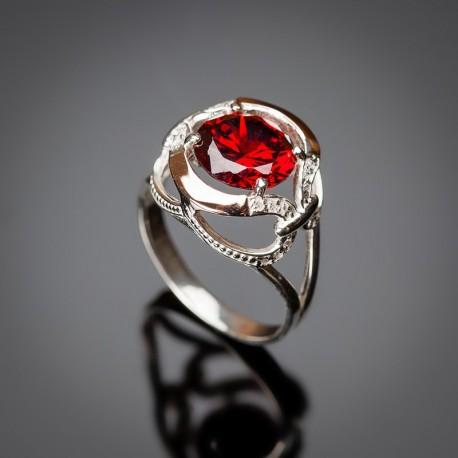 Кольцо из серебра Анжелика (красный)