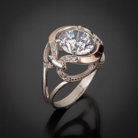 Кольцо из серебра Анжелика (белый)
