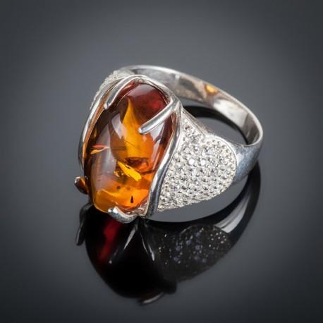 Серебряное кольцо Ольга (Янтарь)