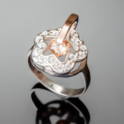 Серебряное кольцо Искра (шампань)