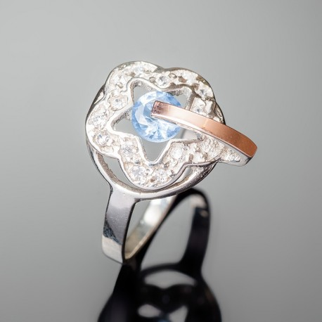 Серебряное кольцо Искра (голубой)