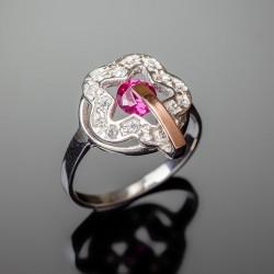 Серебряное кольцо Искра (малиновый)