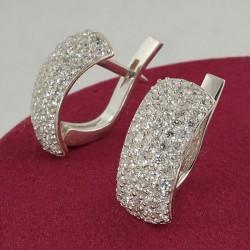 Серебряные серьги Злата с цирконом