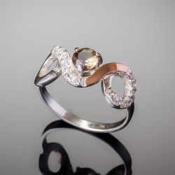 Серебряное кольцо Овен (шампань)