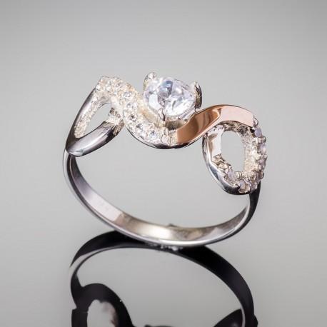 Серебряное кольцо Овен (белый)