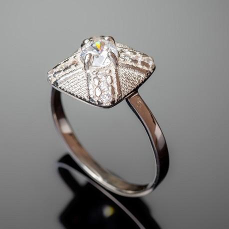 Серебряное кольцо Канада (белый)