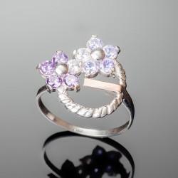 Серебряное кольцо Фиалка (фиолетовый)