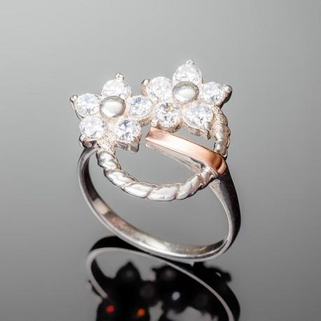 Серебряное кольцо Фиалка (белый)