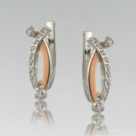 Небольшие серьги Соренто из серебра с золотом, атр. 1785