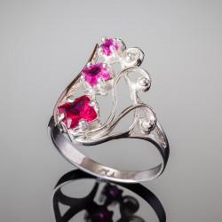 Серебряное кольцо Лира (малиновый)