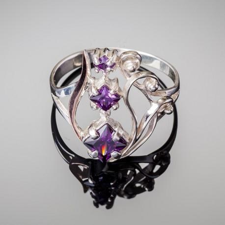 Серебряное кольцо Лира (аметист)
