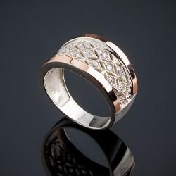 Широкое кольцо Фея из серебра и золота