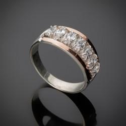 Кольцо Луна из серебра и золота