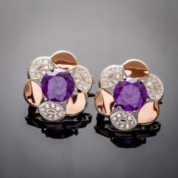 Круглые серебряные серьги Жасмин в виде цветка