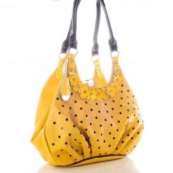 Желтая сумка-хобо Velina Fabbiano с аппликацией