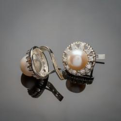 Серьги с жемчугом Леди, серебро 925 пробы