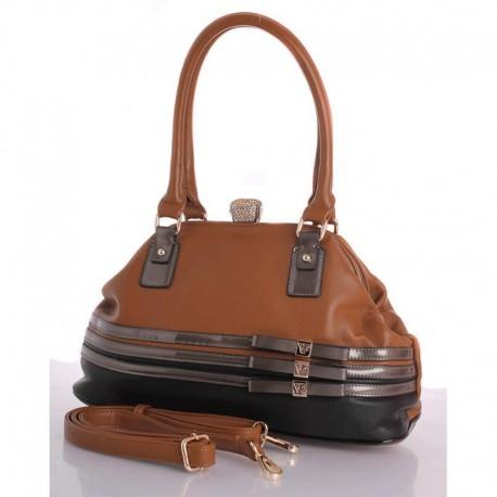 Удобная женская сумка Fabbiano, с замком фермуар (кофе)