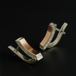 Серебряное серьги Ладочка с золотой пластиной