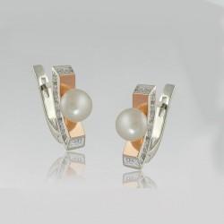Необычные серебряные серьги Жемчужина