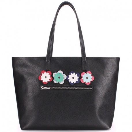 Женская сумка Poolparty Flora Black, кожезаменитель (черный)