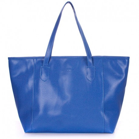Сумка-шоппер Poolparty синяя, кожзам