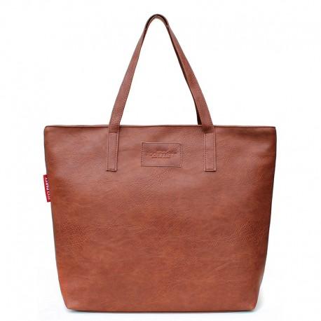 Сумка-шоппер Poolparty 88, кожзам (коричневый)