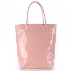 Высокая лаковая женская сумка Poolparty LAGUE (розовый)
