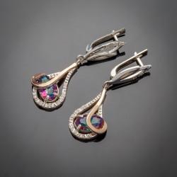 Длинные серьги-капли Орхидея из серебра