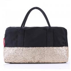 Женская сумка-багет POOLPARTY ROCKNROLL с пайетками (золотой)