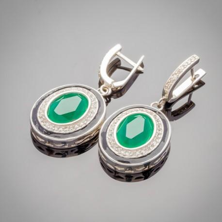Серебряные серьги с подвеской Земфира (зеленый)