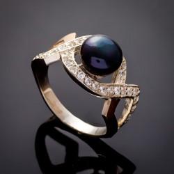 Кольцо с черным жемчугом Луиза