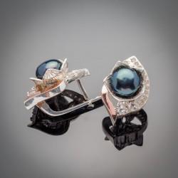 Серьги с синим жемчугом Юнона, серебро 925 пробы