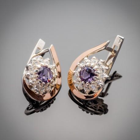 Серьги Талисман из серебра (фиолетовый)