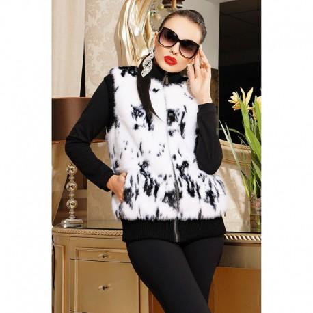 Изумительный черно-белый меховый жилет