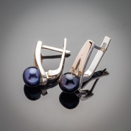 Серебряные серьги с натуральным жемчугом Парижанка
