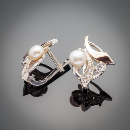 Серебряные серьги с жемчугом и золотом Стелла