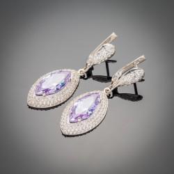 Шикарные серебряные серьги Слеза с фианитами