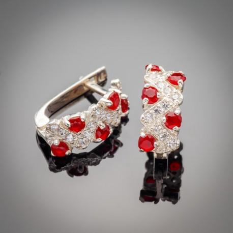 Серебряные серьги Венок (красный)