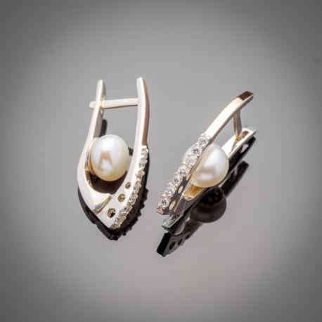 Красивые серебряные серьги Рита с белым жемчугом