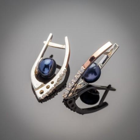 Красивые серебряные серьги Рита с черным жемчугом