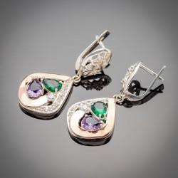 Оригинальные серебряные серьги Скарлет с висюльками